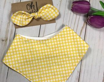 Headband & Bandana Bib Set - Toddler Drool Bib - Baby Bib - Girl Bib - Baby Bandana -  Yellow Polka dot - Baby Shower Gift - Ready to Ship!
