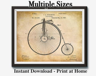 Bicycle Art, Vintage Bike Art, Bicycle Wall Art, Bike Patent Print, Velocipede, Bike Wall Decor, Multiple Sizes, Instant Download, 16x20