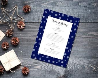 Winter Snowflake Menu Wedding Party Romantic Christmas Navy Blue New Years Eve -Small Snowflakes