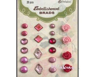 Set of 20 assorted pink embellishment brads cardmaking scrapbooking *.