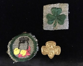 Vintage Girl Scout Badges and Pin -