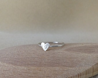 Love Heart Sterling silver dainty ring