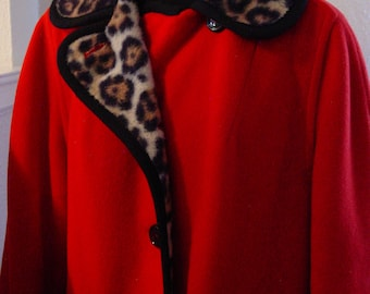 Vintage Penguin brand Red Wool Faux Lepard  Winter Coat/Knit Inside Cuff Sleeve/2 Patch Pockets/Black Edge accent.