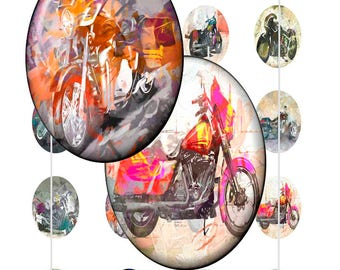 HD Motorcycle Paintings Art - - Instant Download Digital Art, Circles 30x40mm, Collage Sheets,Jewelry Makers, Magnets