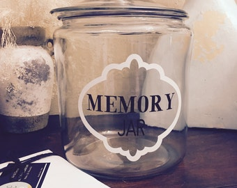 Memory Jar, Good Things Jar 1/2 Gallon Large Glass, Lid, Motivational Notes, Memory Jar, Wedding Shower Inspirational Jar, Happiness jar