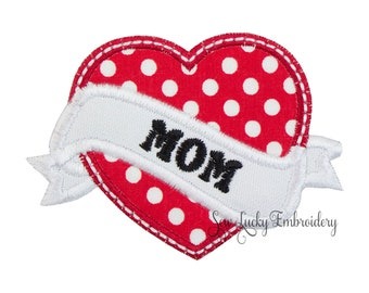 Mom or Dad Heart Applique Embroidered Patch , Sew or Iron on