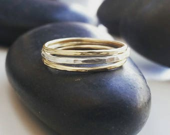 Gold and Silver stacking rings, stacking rings
