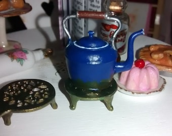 12th Scale dolls house Blue Kettle