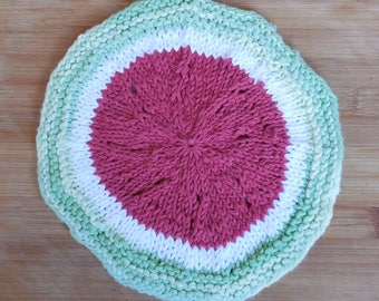 Knit Watermelon Cotton Washcloth, Knit Cotton Washcloth, Knit Cotton Dish Rag, Cotton Dishrag, Housewarming Gift, Christmas Gifts