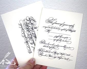 Wedding Invitation Suite in Digital Calligraphy