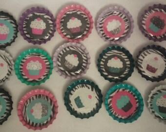 15 cupcake themed bottle cap magnets refrigerator birthday cupcake toppers zebra