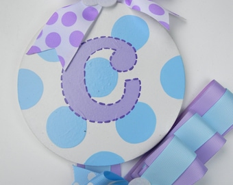 Personalized Hand Painted Hair Bow Holder - Round Bow Holder - Hairbow holder - barrette holder