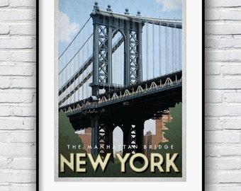 New York Print, New York gifts, Retro Poster, Manhattan Bridge, New York Poster, New York City