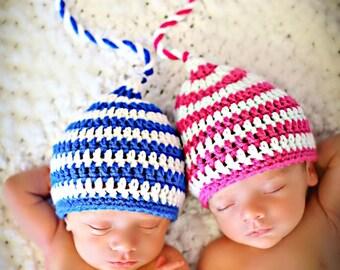 Newborn Photo Prop Boy Girl Twin Hats