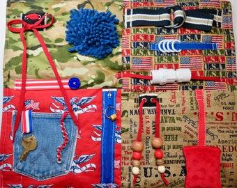 Military Fabrics Fidget, Sensory, Activity Quilt Blanket