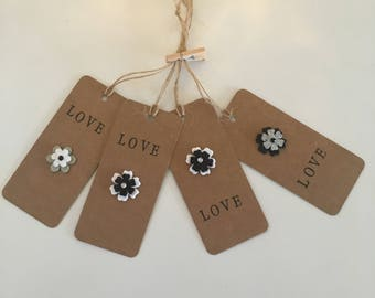 Handmade - Hand Stamped -  Gift Tags - Set of 4 - Flower Design - Gift Labels