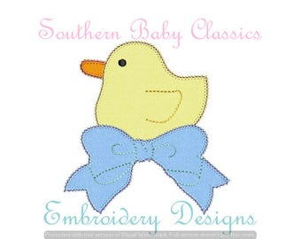 Duck With Bow Blanket Stitch Applique Design File for Embroidery Machine Instant Download Baby Ducks Duckling Ducky