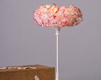 Bedside Nightstand Lamp, Paper Pink Lamp shade, Table Lamp, Floor / Desk Light, Office Decor, Standing Lamp, Housewarming Gift