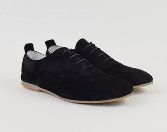 Black Suede Oxford Shoes