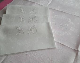 Silky linen damask napkins 4 cut LB mono flowers - 13120