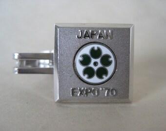 Japan Expo 1970 Tie Clip Enamel Green White Silver Vintage Cloisonne