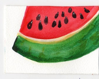 ACEO  Watermelon watercolors paintings original, small fruit Art Card, kitchen decor, miniature painting, SharonFosterArt, SharonFosterArt