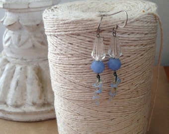 vintage baby blue crystal and glass earrings