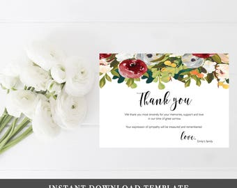 Funeral thank you etsy funeral thank you cards sympathy acknowledgment thank you notes memorial service editable burgundy woman personalized sympathy card notes altavistaventures Images