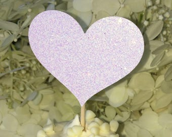 120 Cupcake Toppers 10 dozen Small & Large Cupcake Toppers Sparkling WHITE HEARTS Wedding Cake Decorations White Cupcake Toppers