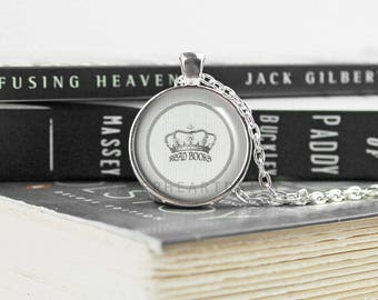 Silver Book Lover Necklace - Read Books  - Book Necklace - Book Jewelry - Book Quote Necklace - Gift for Book Lover - Crown -  (B0679)