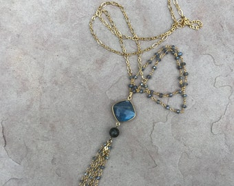 Long Labradorite Tassel Necklace