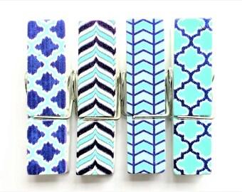 Jumbo Clothespin Magnets   Set of 4   Super Strong   Cute Fridge Magnets   Teal + Navy Blue Magnets   Ikat Magnets   Quatrefoil Magnets