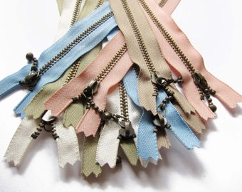 """YKK Metal Zippers in Assorted colors for 10 / YKK Antique Brass Zippers (closed-end) - 4"""" 5"""" 6"""" Inch"""