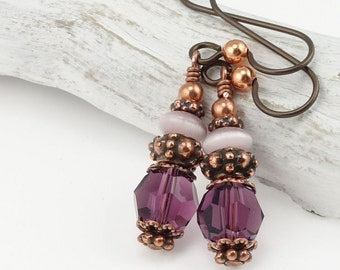 Copper Earrings Purple Earrings Copper and Purple Jewelry with Niobium Hooks Wires Bohemian Jewelry Boho Chic Earrings Amethyst Purple