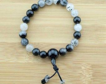 Tourmilated Quartz Crystal Buddhist Mala Bracelet with Black Onyx | 8mm | Yoga Jewelry | Wrist Mala | Free Shipping