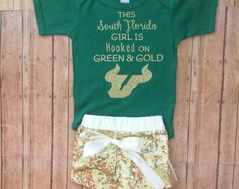 usf baby girl, usf bulls, usf baby outfit , University of South Florida baby,biulls baby outfit, usf baby set, usf baby gift, south florida
