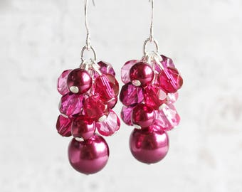 Fuchsia Earrings, Dark Pink Bridesmaid Earrings on Silver Plated Hooks, Cluster Earrings, Pink Dangle Earrings, Wedding Jewelry