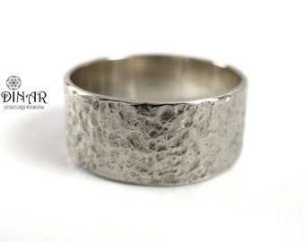 Hammered Silver Band  ,wide Textured silver men band, sterling silver wedding band, organic design, rustic mens silver band, hammered ring