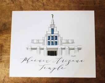 Phoenix Arizona LDS Temple Graphic Art Print