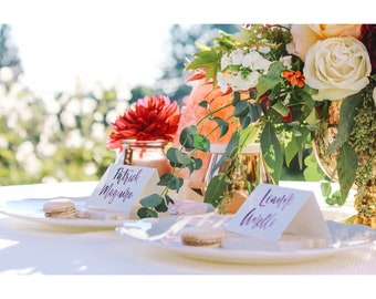 Brush Calligraphy Place Cards | Wedding Place Cards | Placecards | Folded Place Cards | Place Cards |