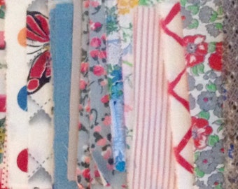 """Vintage 3 1/2"""" x 5 1/2"""" Shades of Summertime rectangle fabric pieces for repurposing - 8 ounces - various cotton types"""
