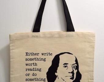 Benjamin Franklin tote bag, History Tote Bag, Novelty Tote Bag, tote bag, tote gift, nerd gift, quote canvas tote bag, Benjamin Franklin