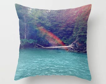Throw Pillow Case, Home Decor, Sunshine Lagoon, River, Rainbow, Nature Photography by RDelean Designs