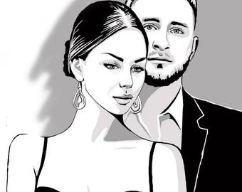 Paired pop art portrait Black and White Personalized portrait Custom portrait Christmas gift Valentines gift Birhtday gift