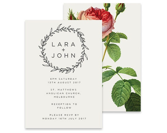 Simple Vintage Wedding Invitations: Simple Wedding Invitation Vintage Rose Printable DIY