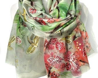 Hand Painted Green Silk Scarf. Anniversary Birthday Gift for Her. Authentic Silk Painting. Genuine Art. Mother Gift. 18x71in MADE to ORDER