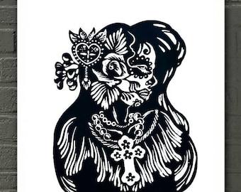 La Catrina Mexican Folk Art Skull Print, Calavera Chicana Mexican Wall Art, Dia de los Muertos Chicano Mexican Skull Decor, Skeleton Poster