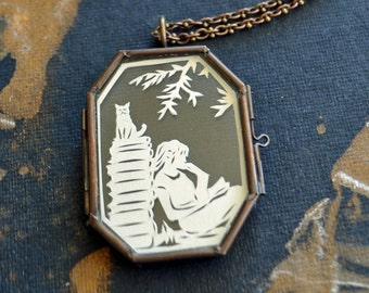 AFTERNOON READING in the PARK Locket - Hand-Cut Miniature Papercut Locket Necklace