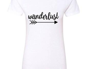 Wanderlust Womens Short Sleeve Tee T Shirt Top