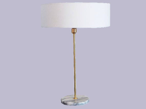 Marble And Brass Lamp   Warby   Mid Century Modern   Linen Drum Shade    Desk Lamp   Table Lamp   Clean   Transitional
